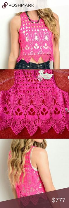 """Magenta crochet top Brand new with tags  Boutique item  Price is firm  Gorgeous magenta pink crochet top! Pair with your favorite pair of denim shorts or jeans period this fabulous top can even be worn over your bikini/ swimsuit to the pool.   Small bust 16"""" across length 18"""" Medium Bust 17"""" Length 19"""" Large Bust 18"""" length 19"""" Material 100%cotton Measurements approx Color varies per screen White tank top not include, pink crochet top only   Crop Coachella cruise vacation party bikini beach…"""