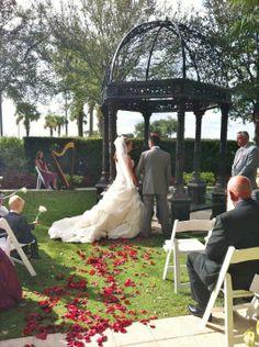 Wedding gazebo for the ceremony at Omni Resort in Orlando, Florida. A beautiful garden location for small, intimate, or destination weddings. #gazebo #bride #harpist #harp #music #musician #orlando