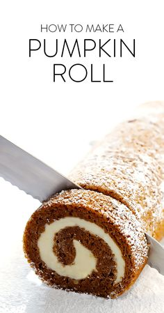 Learn how to make this classic pumpkin roll recipe with a step-by-step photo and video tutorial! It's easy to make ahead of time, it's filled with a heavenly cream cheese filling, and it's always a crowd favorite!! | gimmesomeoven.com