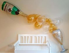 Easy Assemble Champagne and Wine Gold Balloon Garland