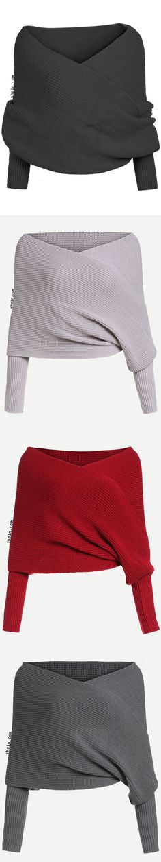Off Shoulder Overlap Crop Sweater Visit our site for more Fashionable stuff! Look Fashion, Fashion Beauty, Fashion Outfits, Pretty Outfits, Cool Outfits, Pretty Clothes, Crochet Bikini, Knit Crochet, Ugly Sweater