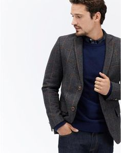 LANGWORTHTweed Blazer Joules Uk, Tweed Blazer, Coat, Christmas, Jackets, Men, Fashion, Yule, Down Jackets