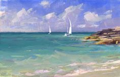 Twin sails Bahamas 6x9 gouache on watercolor block by painter Mike Hernandez