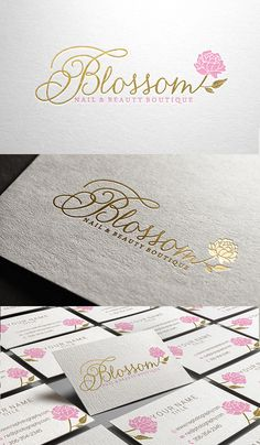 Amazing logo for Blossom Nail & Beauty Boutique, gold foil logo with a peony flower https://www.facebook.com/Merryelle-design-345158458954234/?ref=hl