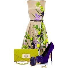 Untitled #182 by twinkle0088 on Polyvore featuring Coast, Yves Saint Laurent, Kate Spade, bow earrings, purple heels, green clutches, flower print dresses and kate spade