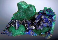 Azurite sitting atop chatoyant Malachite