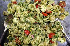 {tomato-basil orecchiette with pistachios} joy from joy the baker threw this chilled pasta salad together + then kept in a mason jar for an easy picnic lunch. great idea.