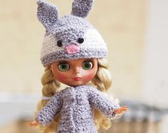 outfit for Blythe dolls, Costume bunny for christmas, doll clothes Knitted, winter set animal hat and gray coat, helmet Blythe animal