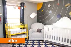 Before & After: Spare Room Turned Atmospheric Nursery   Ok, as a scientist I love this for a baby's/child's room, what an awesome idea.