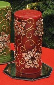 Red Poinsettia Flower Christmas Pillar Candles