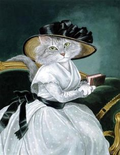 """Ꮳαɬ αʀɬ (""""Countess of the Chartre (Elisabeth-Louise Vigée-Le Brun)"""" par Susan Herbert) I Love Cats, Crazy Cats, Cool Cats, Costume Chat, Cat Costumes, Image Chat, Animal Society, Fancy Cats, Gatos Cats"""
