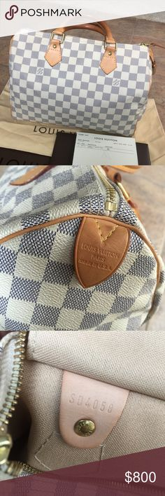 ️️$650 Louis Vuitton Azur Speedy 30 100% Authentic Louis Vuitton Azur Speedy 30•••In GOOD CLEAN BEAUTIFUL condition•••No stains or rips•••Bought 2008•••ONLY flaw I would say is the leather strap. It has darken a bit but otherwise the bag is in GREAT shape!!•••Comes with RECEIPT, LOCK (NO key), and DUST BAG ONLY•••Box($20) SERIOUS INQUIRY ONLY, ⚠️ LOW BALL OFFERS will be IGNORED ✅additional photos on my other listing Text: 916.895.1712 Louis Vuitton Bags Satchels