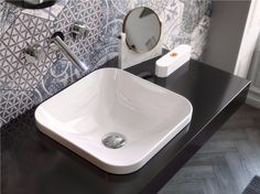 I like the look of the bowl , not completely undercount or complete bowl Inset square ceramic washbasin Giò Evolution Collection by Hidra Ceramica