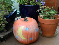 Moon and star pumpkin! #Halloween #Pumpkins #Paint