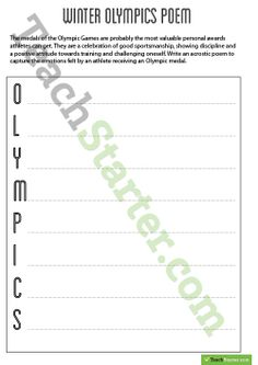 Sochi Winter Olympics 2014 Poem Worksheets