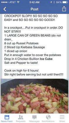 Crockpot slop with onion soup mix Crock Pot Food, Crockpot Dishes, Crock Pot Slow Cooker, Slow Cooker Recipes, Crockpot Recipes, Cooking Recipes, Slow Cooking, Smoked Sausage Recipes, Pork Recipes