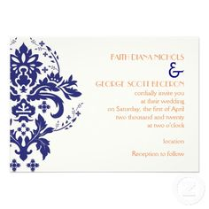 Elegant damask navy blue, coral, ivory wedding