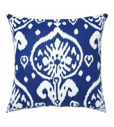 Blue canvas ikat throw pillow for your sofa, couch or bed.