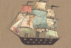 ah, i just had the best tattoo idea when i saw this. i think a pirate ship just like this, only since i LOVE maps/globes, replace the designs on the sails with maps! perfect ??