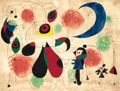Joan miró - pintura (mujeres, luna, aves), 1950.