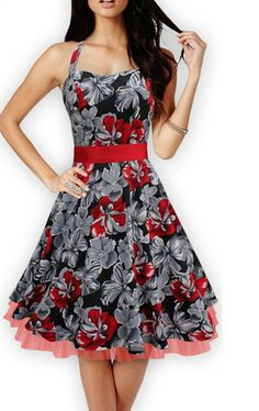 Dress, Metro Audrey Halter belt big swig floral robe casual prom