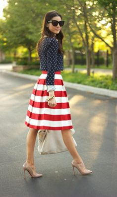 Fourth of July Fashionista. (I JUST bought a blue & white striped skirt like this yesterday!) @Tina Fussell
