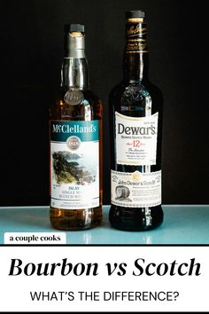 Bourbon vs Scotch: what's the difference? Here's a quick guide to the main differences between these types of whiskey (and some cocktails!). | alcoholic drinks | drinks | cocktails | whiskey cocktails | bourbon cocktail | scotch cocktails | #bourbon #scotch #whiskey #whisky Best Whiskey Cocktails, Whiskey Or Whisky, Champagne Drinks, Good Whiskey, Malt Whisky, Scotch Whiskey, Irish Whiskey, Refreshing Cocktails, Fun Cocktails