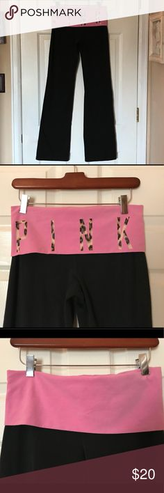 "PINK VS yoga pants with fold over waist S PINK VS yoga pants with fold over waist. PINK letters in leopard print. Size S. Waist measures 14"" laying flat; inseam is 31"". Very good condition, no tears or stains. PINK Victoria's Secret Pants"