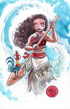Watercolor: Moana by mikemaihack on DeviantArt Disney Princess Coloring Pages, Disney Princess Colors, Moana Wallpaper, Comic Book Artists, Comic Artist, Disney Films, Disney Pixar, Disney Fan Art, Disney Artwork