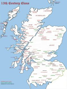 13th century map of the major Highland clans of Scotland