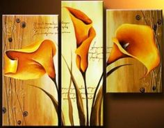 Hand Painted Oil Painting Modern Canvas Art Wall Decor The Spell Of Gold-Floral Oil Painting Wall Art Flower Canvas, Flower Art, 3 Piece Art, Triptych Wall Art, Modern Canvas Art, Painting Inspiration, Art Projects, Wall Decor, Hand Painted