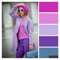 Trend alert and must have for fashion and outfits for the incoming New Style of women's fashion Purple Color Combinations, Color Combinations For Clothes, Purple Color Palettes, Color Blocking Outfits, Lila Outfits, Purple Outfits, Colourful Outfits, Matching Outfits, Color Matching Clothes
