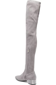René Caovilla - Crystal-embellished Suede Over-the-knee Boots - Light gray - IT