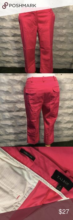 Talbots: Pink Capris Pants with Flap/Button Pocket The pink hue of these capris are everything! Cruise and spring break ready! GUC. Normal wear (slight color fading) to wash and use. Please ask questions prior to purchase. Use zoom to see intricate detail. Bundle up! Talbots Pants