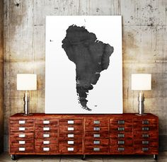 WATERCOLOR South America MAP South America Map by TypoWorld