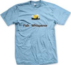Fish Whisperer Mens T-shirt Funny Fishing Fisherman in Boat Mens Tee Shirt Large Lt-Blue