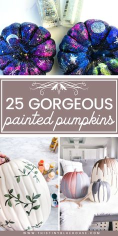 25 Gorgeous Painted Pumpkin Ideas Perfect For Fall Displays - This Tiny Blue House Elevate your fall decor with one or more of these gorgeous painted pumpkin ideas. From Farmhouse to monochrome there is a painted pumpkin to fit any decor. Faux Pumpkins, Painted Pumpkins, Halloween Pumpkins, Pumpkin Crafts, Pumpkin Ideas, Fall Crafts, Diy Crafts, Diy Halloween Decorations, Fall Halloween