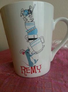 Disney Pixar Ratatouille Coffee Mug Remy Mouse Rat Movie Served With Flair Cafe