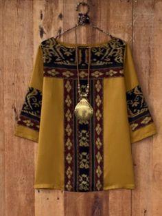 Ideas For Fashion Style Bohemian Kimonos Blouse Batik, Batik Dress, Blouse Dress, Batik Fashion, Hijab Fashion, Fashion Dresses, Bohemian Kimono, Indian Designer Wear, African Dress