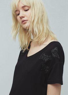 Camiseta purpurina - Camisetas de Mujer | MANGO