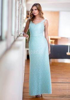 Ankle Length V Neck Natural Waist Lace Sleeveless A line Bridesmaid Dress    #bridesmaiddress