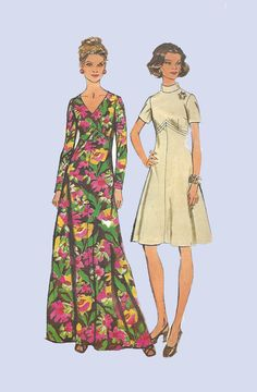 1973 A Line Maxi Dress Simplicity 5850 Long or by EagerlySought