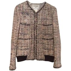 Pre-owned Chanel Tweed Bomber Multicolor Jacket ($1,400) ❤ liked on Polyvore featuring outerwear, jackets, multicolor, multi color jacket, colorful jackets, brown bomber jacket, bomber jacket and brown tweed jacket