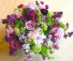 lavender lilac,sweet peas,viburnum roses,gomphrena,peony