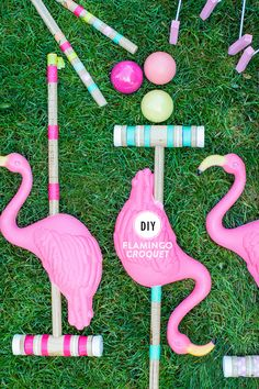 Croquet is the perfect outdoor game for summer, and this DIY flamingo croquet set will make it even more so.