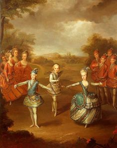 """Archduchess Maria Antonia of Austria (later Queen Marie Antoinette of France) dancing ballet with brothers Archduke Ferdinand of Austria & Archduke Maximilian Franz of Austria by Johann Georg Weikert Marie Antoinette, Versailles, 2. November, The Duchess Of Devonshire, Maria Theresia, French Royalty, Archduke, Francis I, Masquerade Costumes"