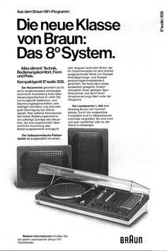 1974 Braun Audio 308 Folder Ad. Design by Dieter Rams in 1973