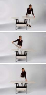 Coffee table that transforms into a full-sized dining table.