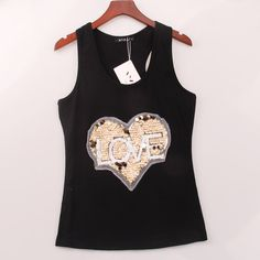 #aliexpress, #fashion, #outfit, #apparel, #shoes #aliexpress, #Colors, #Summer, #Style, #HEART, #Sequined, #Sequins, #Women, #Round, #Racer, #Camisole, #Woman