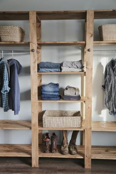 DIY Industrial Style Wood Slat Closet System with Galvanized Pipes